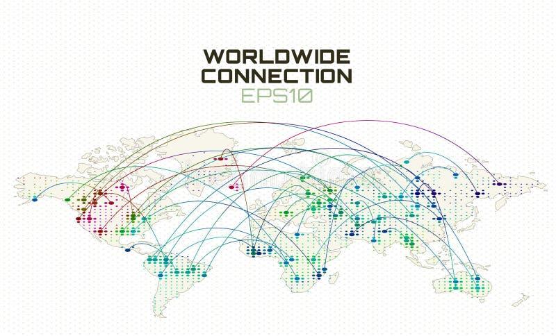 Communication mondiale de social d'Internet Trajectoire de train de données de données, nuage calculant le fond abstrait Réseau g illustration de vecteur