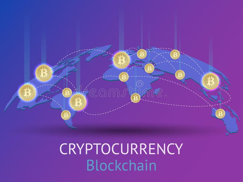 Cryptocurrency and blockchain isometric composition. vector illustration