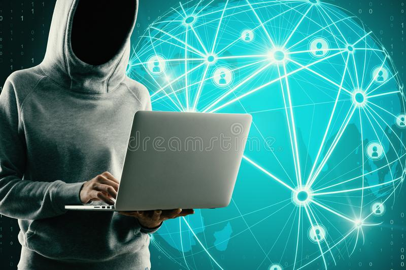 Communication and network concept. Hacker using laptop with glowing map interface and connections on blue background. Communication and network concept stock photography