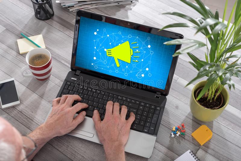 Communication network concept on a laptop royalty free stock images