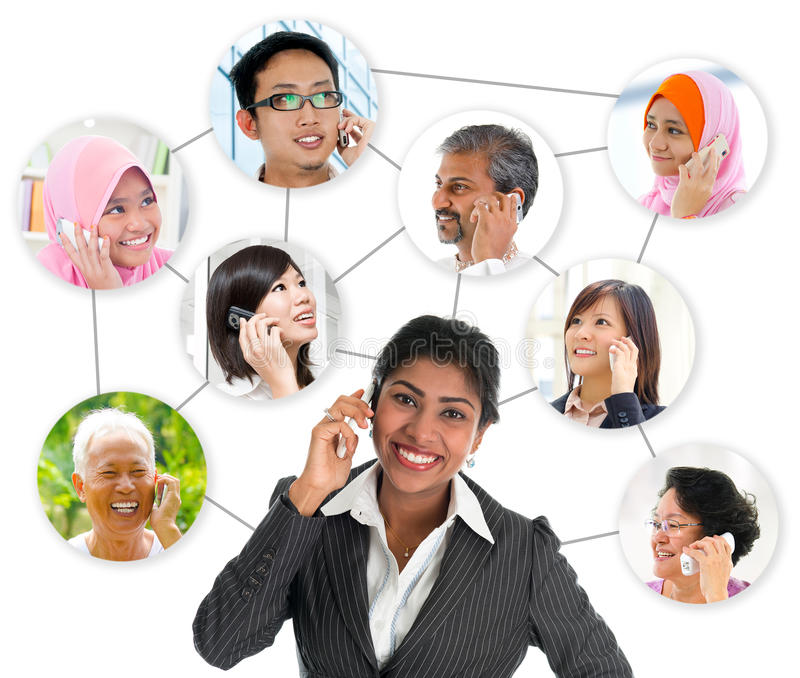 Communication network connection. People talking on the phone. Collage made network connection of diversity races. Asian communication concept stock photography