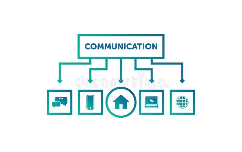 Communication network and home template, communication mobile, computer and home vector illustration