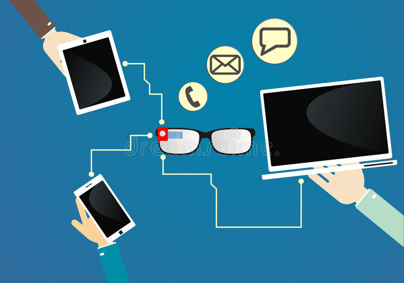 Communication par l'intermédiaire des verres futés Communication de dispositifs Technologie des communications Illustration de ve illustration de vecteur