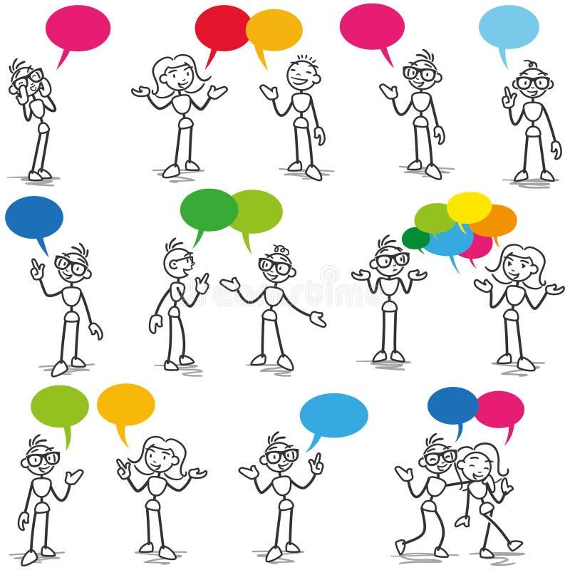 Communication parlante de conversation de Stickman illustration de vecteur