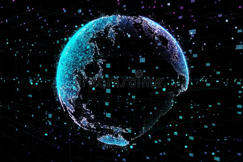Communication of people in a social network without boundaries. Connection lines Around Earth Globe.The concept of stock illustration