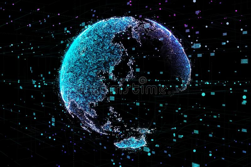 Communication of people in a social network without boundaries. Connection lines Around Earth Globe.The concept of royalty free illustration