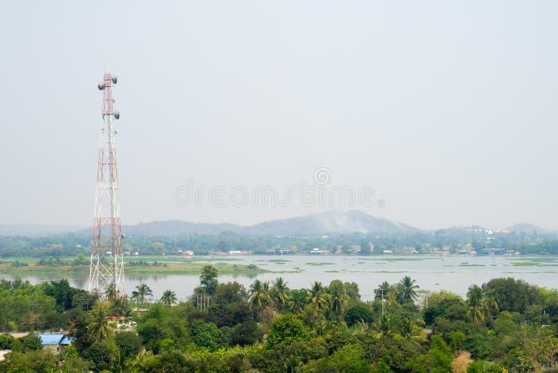 Communication Pole Stand among Nature. Communication Pole Broadcast Stand among Nature stock image