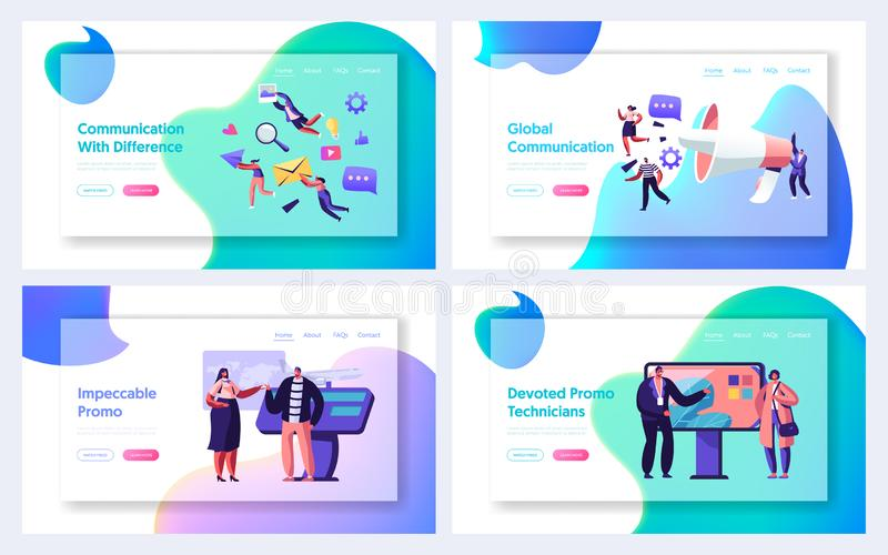 Communication, Pr Agency Marketing and Promotion Website Landing Page Set, Alert Advertising and Social Media Public Relations. Promotional Affairs, Web Page stock illustration