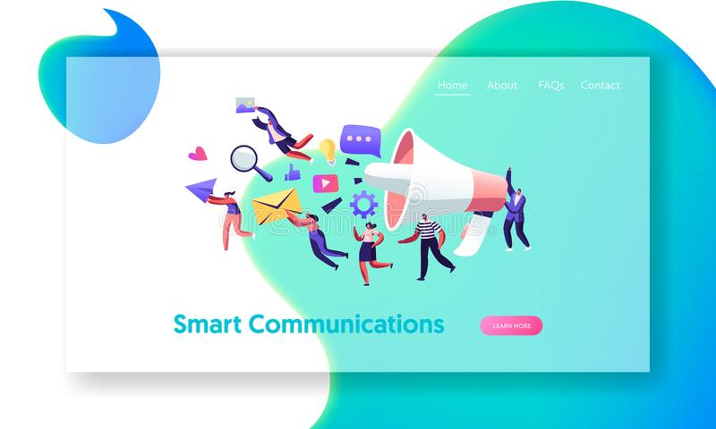 Communication, Pr Agency Marketing Team with Huge Megaphone, Alert Advertising and Social Media. Public Relations and Affairs. Website Landing Page, Web Page vector illustration