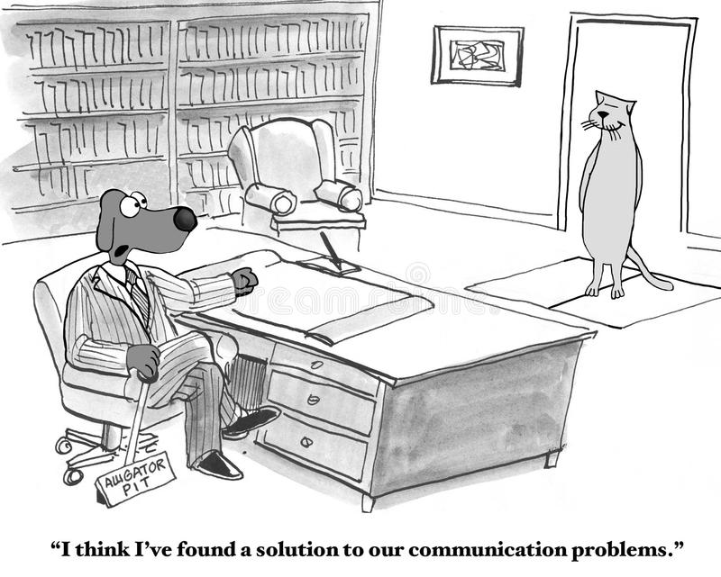 Communication Problems. Business cartoon about communication problems. The boss dog found a solution to communication problems with the worker cat, the alligator stock illustration
