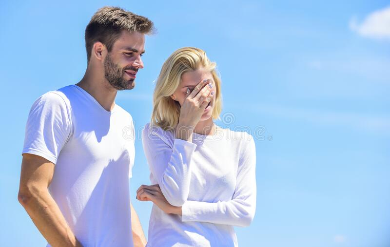 Communication problems. Summer romance. Family love. True love. Romantic relations. Couple in love blue sky background stock photos