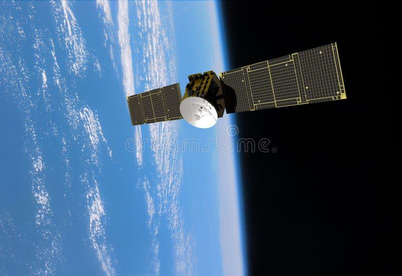 Orbiting Communication Satellite Navigation. Dramatic view of communication satellite beaming signals back to earth. Navigation, Orbiting