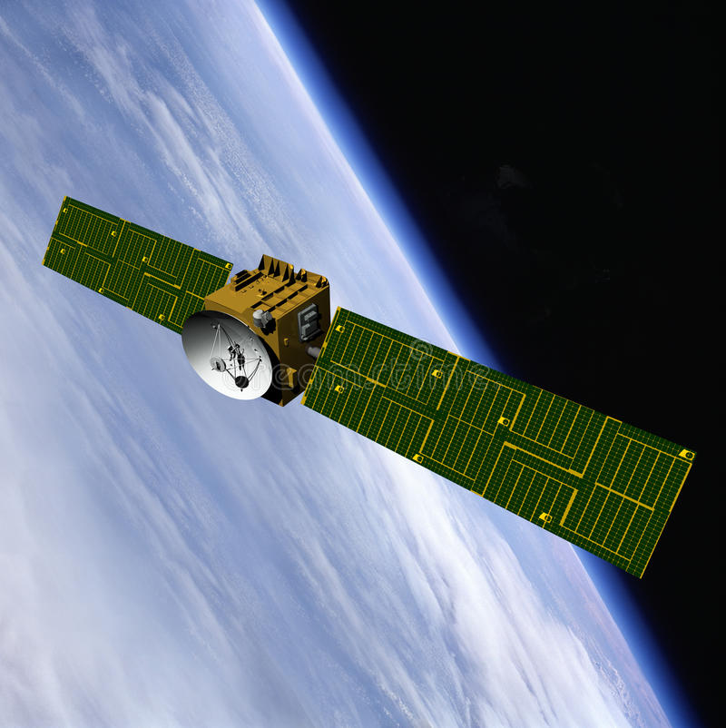 HIGH TECH TECHNOLOGY INDUSTRY NAVIGATION. Global high tech communication connectivity technology background with orbiting commercial satellite concept, with