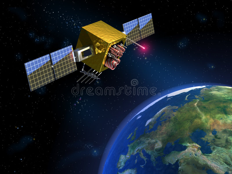 Communication satellite vector illustration