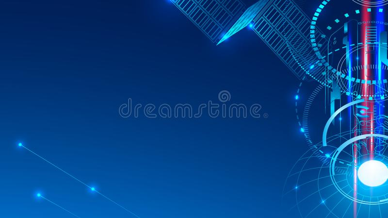 A communication satellite in space transmits a signal. Abstract technological geometric background vector illustration