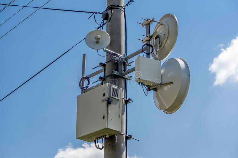 Communication satellites. White satellites for radio and television communication royalty free stock images