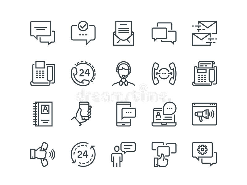 Communication. Set of outline vector icons. Includes such as Phone Calls, Video Chat, On-line Support and other royalty free illustration