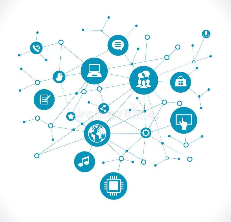 Communication sociale de réseau dans les réseaux informatiques globaux illustration libre de droits