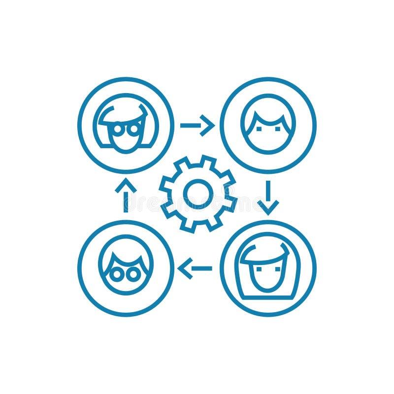 Communication sur le concept linéaire d'icône d'Internet Communication sur la ligne signe de vecteur, symbole, illustration d'Int illustration stock