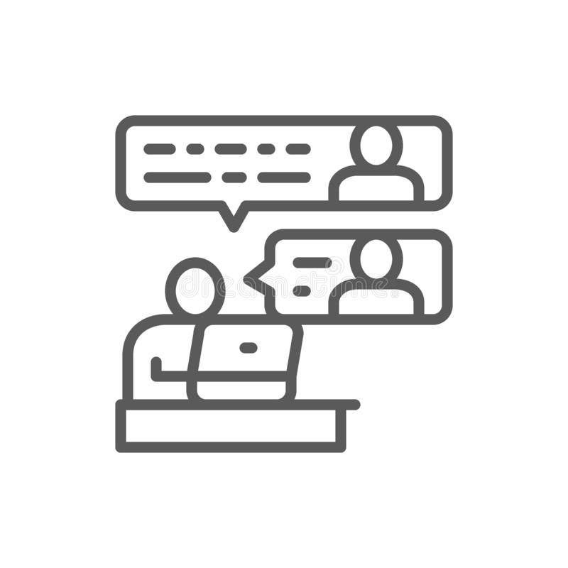 Communication between team members line icon. royalty free illustration