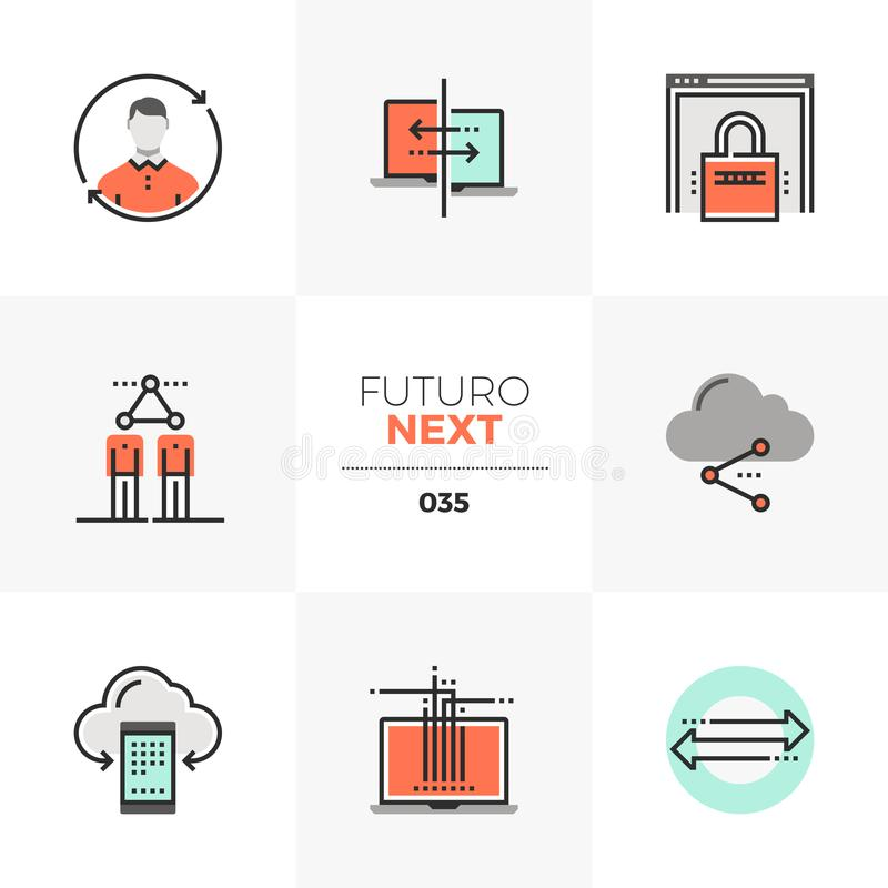 Communication Technology Futuro Next Icons. Semi-flat icons set of communication technology, social network. Unique color flat graphics elements with stroke stock illustration