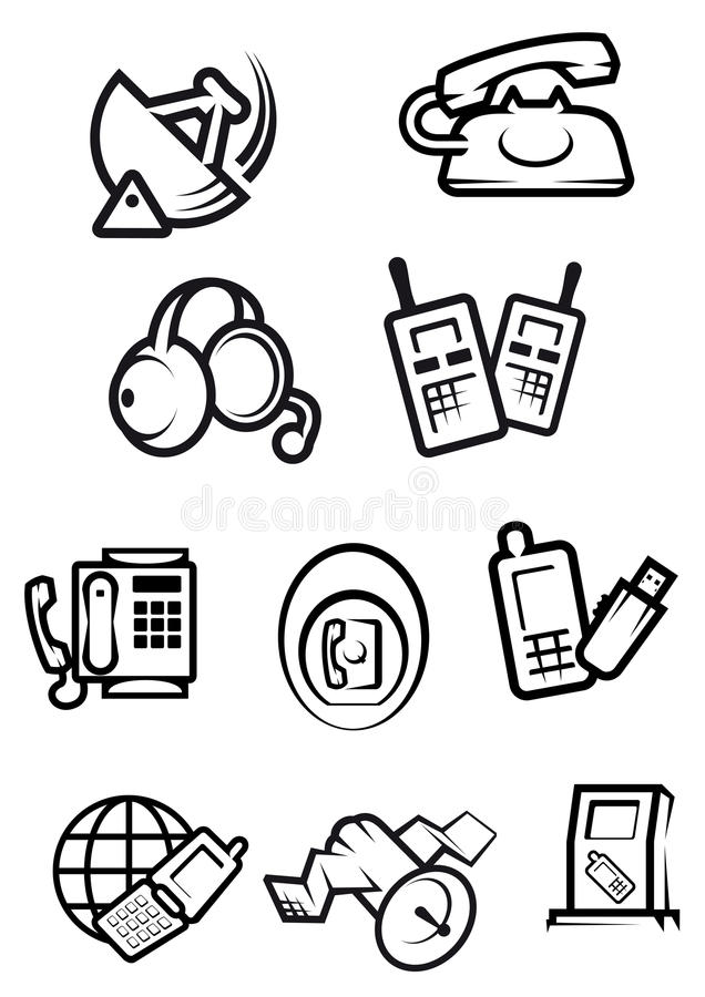 communication technology for home and office icons stock