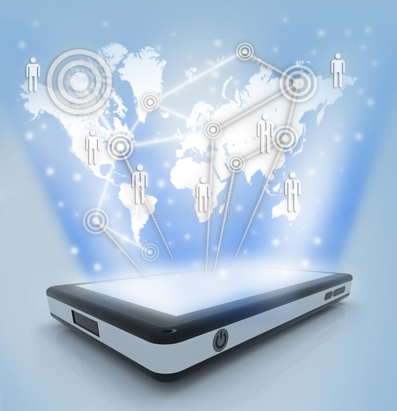 Download Communication Technology With Mobile Phone Stock Illustration - Image: 30285651
