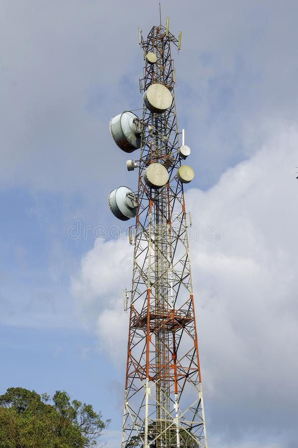 communication and telecommunication pole in nature on blue sky at asia royalty free stock photo