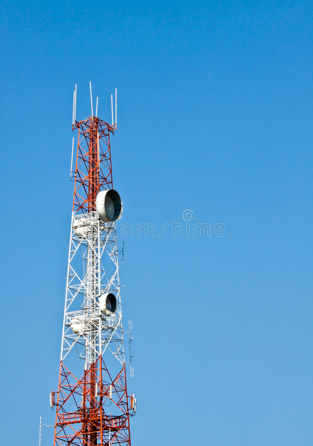 Communication Tower On Blue Sky Royalty Free Stock Photography