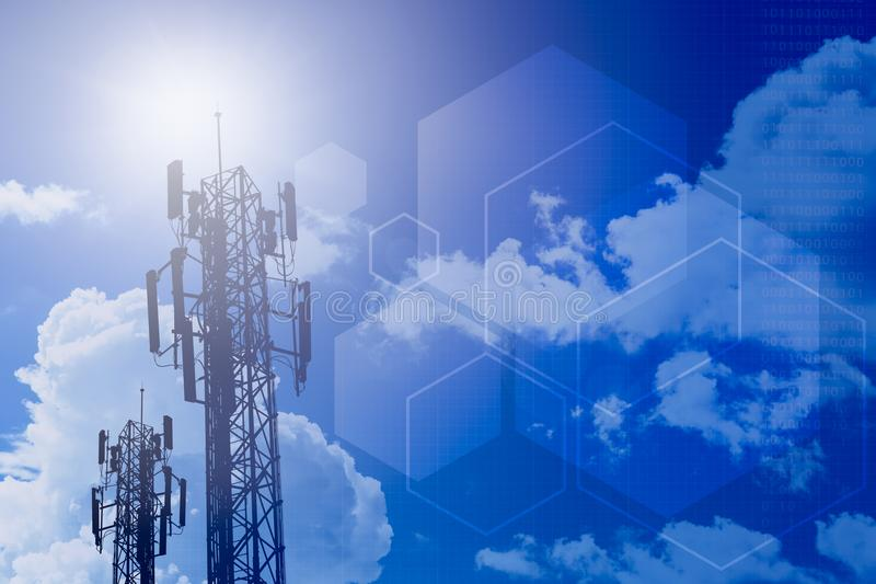 Communication tower and information technology stage background. Communication tower and information technology concept design for stage background royalty free stock images