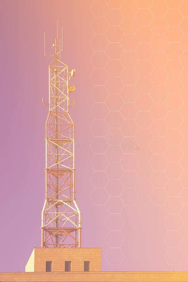 Receiving and transmitting stations. Cell tower stock photo