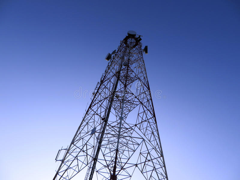 Communication tower at night stock photos