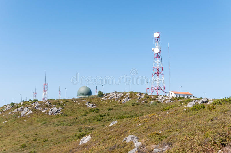 Communication tower on the top of Foia Mountain royalty free stock photo