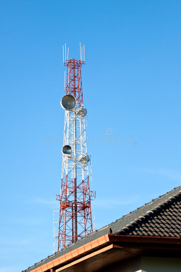 Download Communication Tower On The Top Of Roof Stock Image - Image: 25499671