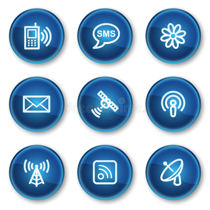 Download Communication Web Icons, Blue Circle Buttons Stock Vector - Image: 13308570
