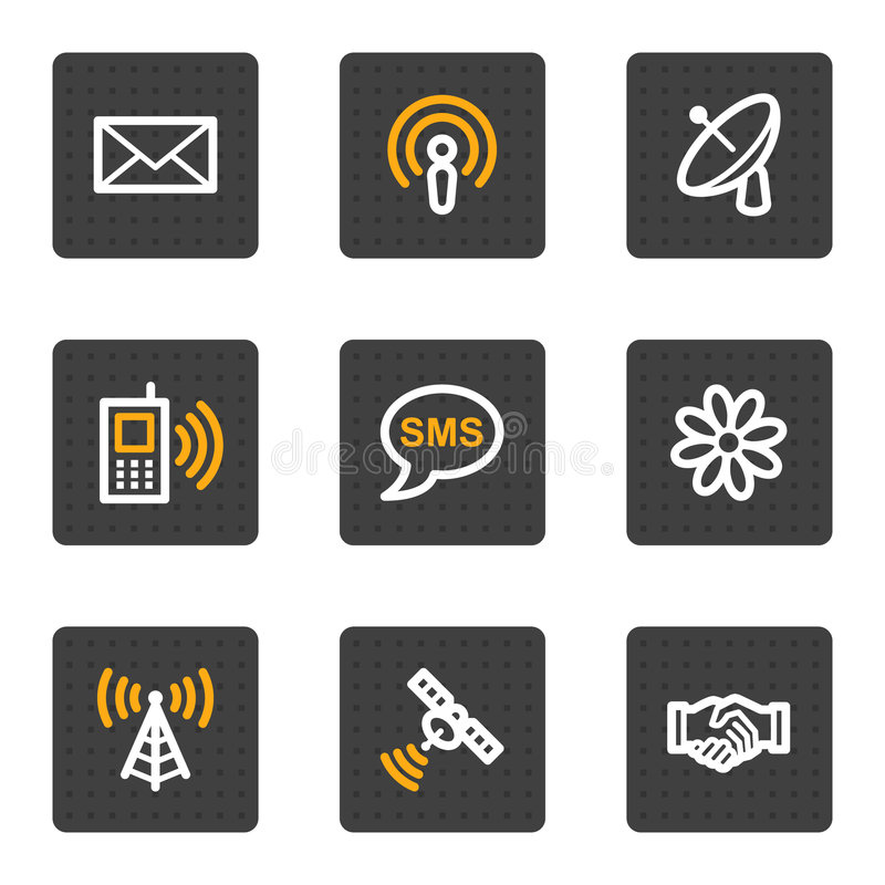Communication web icons, grey buttons series