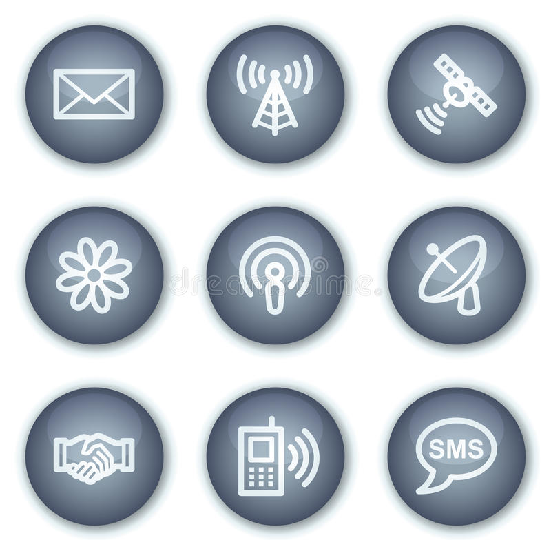 Communication web icons, mineral circle buttons stock illustration
