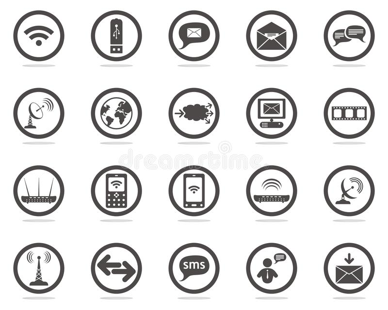 Communication web icons set