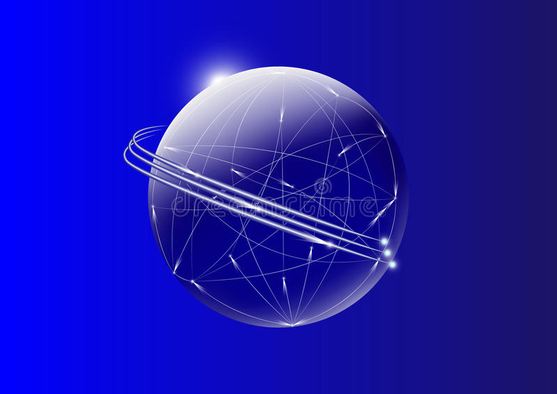 Communication wires across the globe with moving light on blue background vector illustration