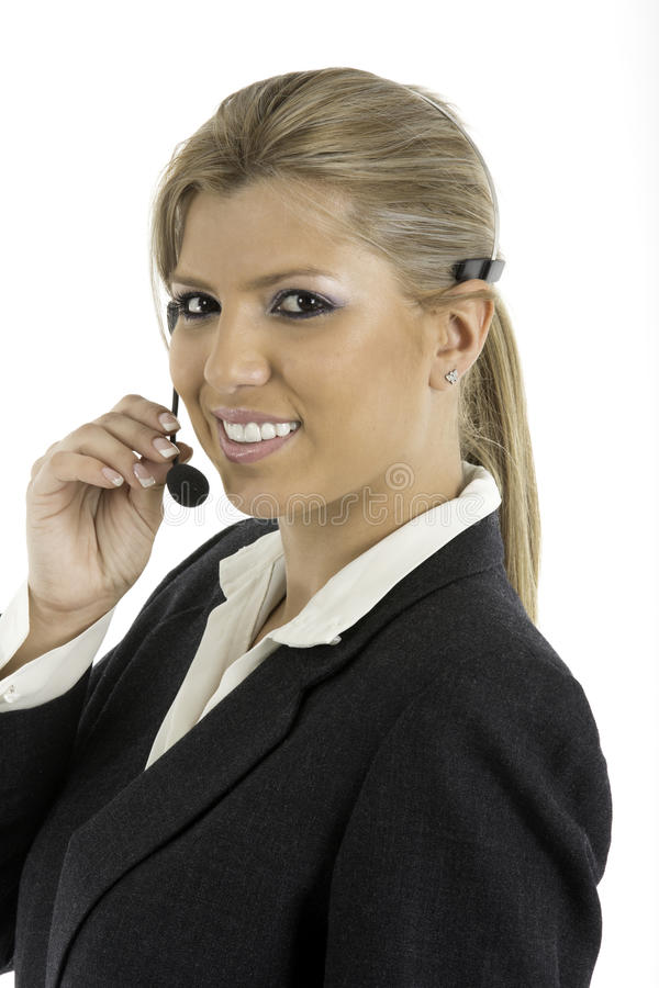 Download Communication: Woman Talking On A Headset Stock Image - Image: 32734775