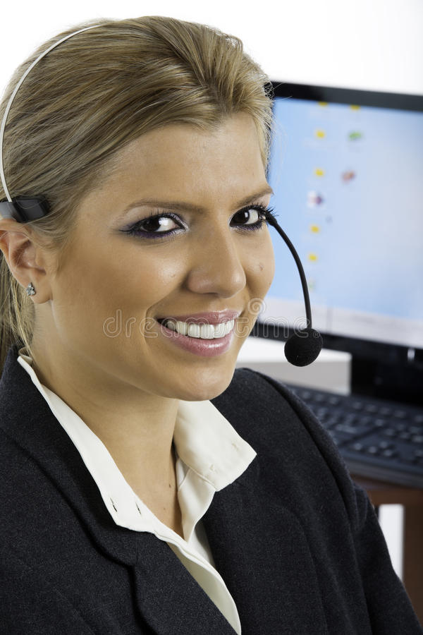 Download Communication: Woman Talking On A Headset Stock Image - Image: 32734803