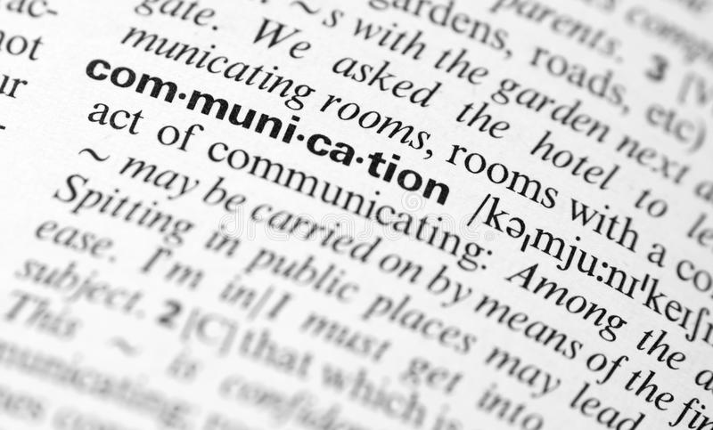 Communication word definition royalty free stock photo