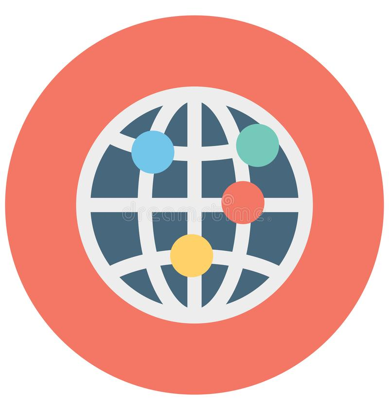 Global Network Isolated Vector icon that can be easily modified or edit royalty free illustration