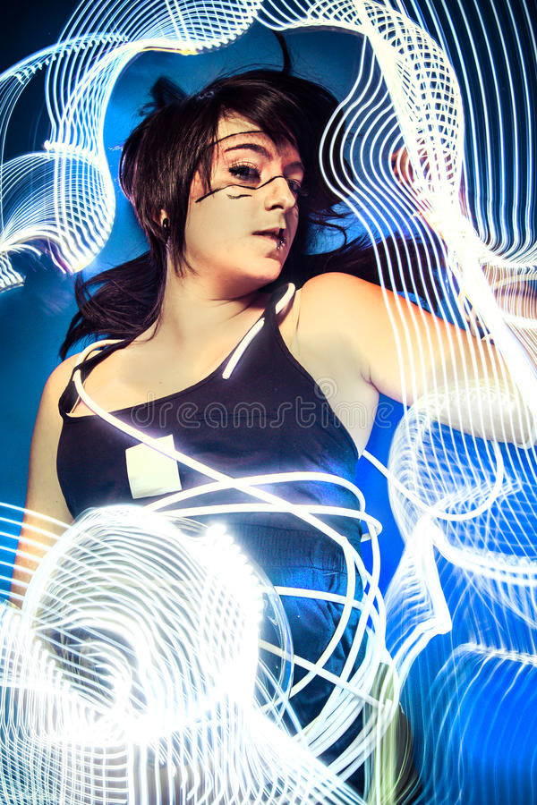 Download Communications, Future Women Concept, Black Latex With Neon Ligh Stock Image - Image: 36337363