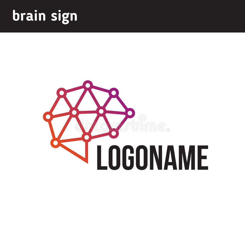 Communications logo in the brain stock illustration