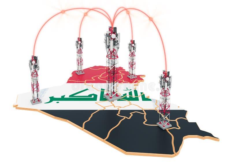 Communications mobiles en Irak, tours de cellules sur la carte rendu 3d illustration libre de droits