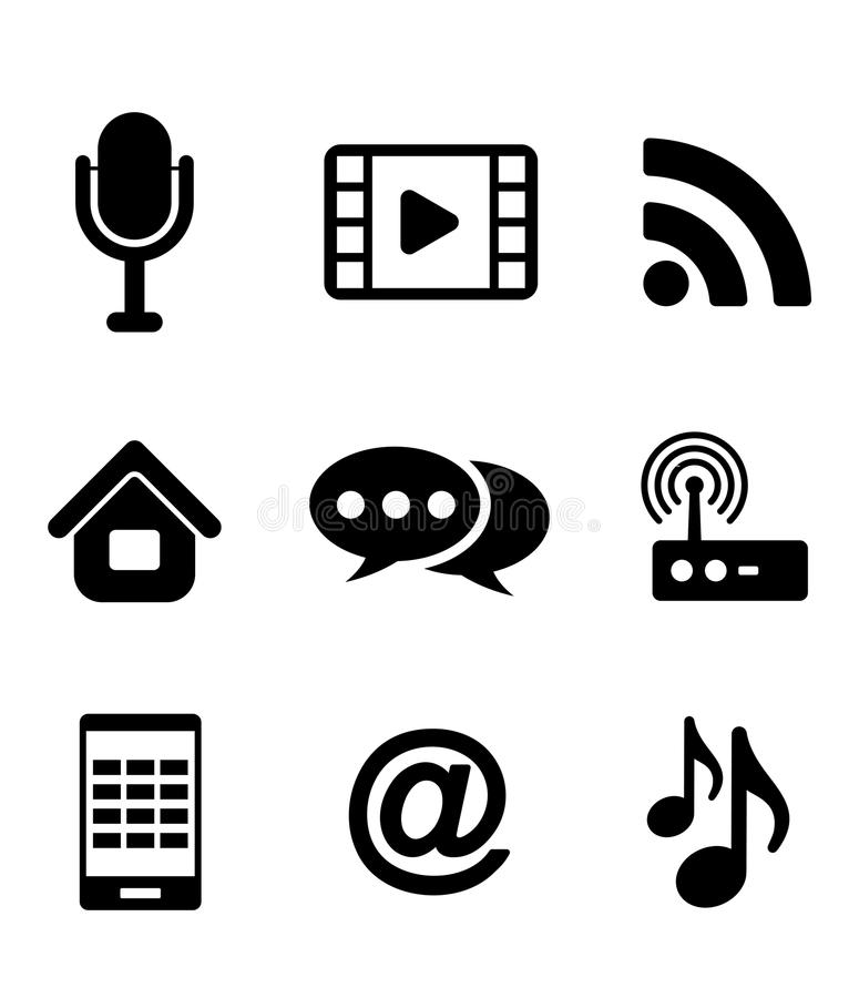 Communications And Multimedia Icons Royalty Free Stock Photos