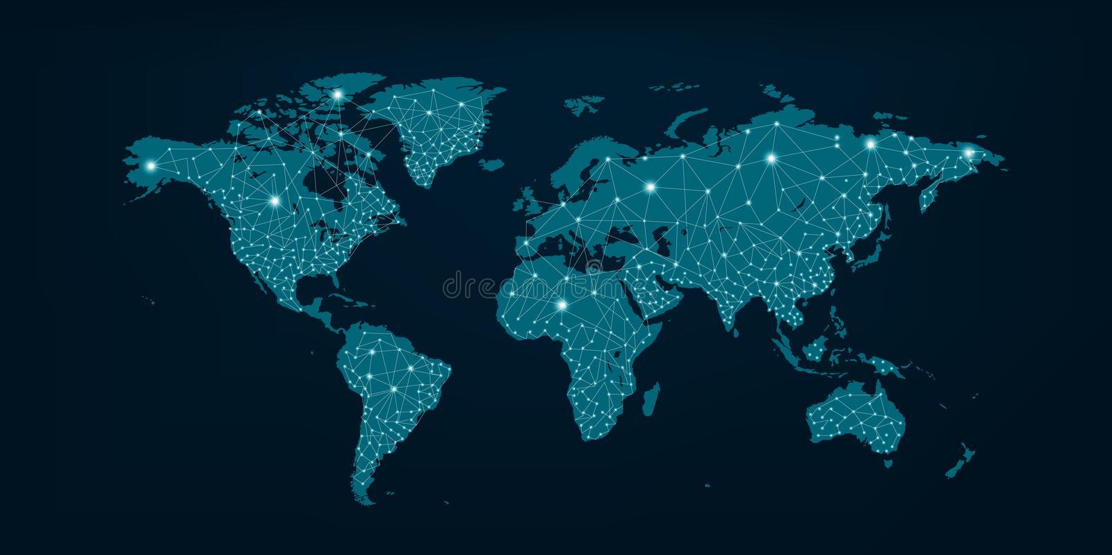 Communications network map of world Blue map Dark blue background stock photos