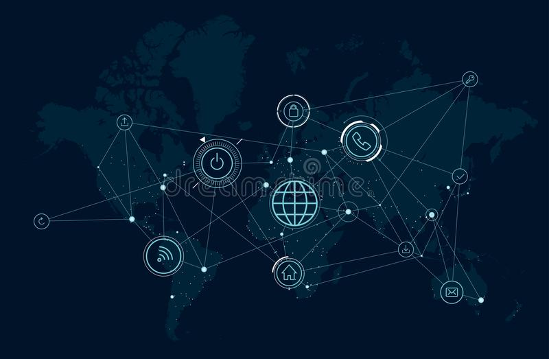 Communications network map of the world, data process activity, wireless technologies vector illustration