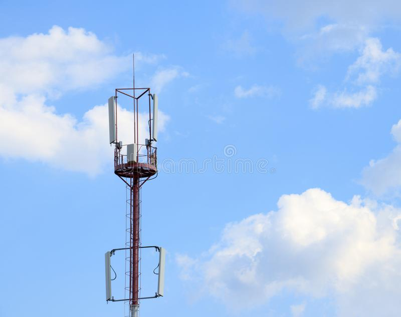 Communications tower with a beautiful blue sky stock photography